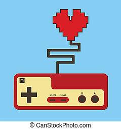 controlar almofada, controlador, heart., vida