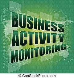 controlar, concepto de la corporación mercantil, pantalla, digital, tacto, actividad, interfaz