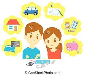 controlar, finanças, par, família