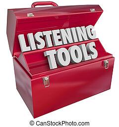 controlar, medios, escuchar, social, caja de herramientas, ...