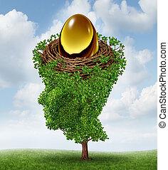 controlar, ovo ninho, seu