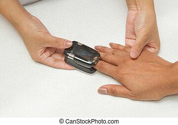 controlar, paciente, dedo, oximeter pulso