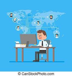 controle, apartamento, conceito, remoto, negócio, trabalhando, freelance, trabalho, ilustração, projeto, vector., equipe, job., lar, style., management.