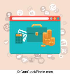 controle, apartamento, estilo, finanças, app, -, vetorial, online