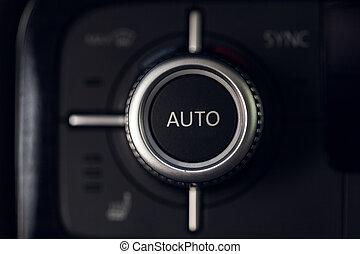 controle, auto, klimaat, knoop