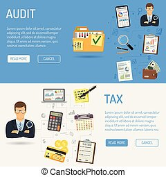 controle, boekhouding, banieren, belasting, proces