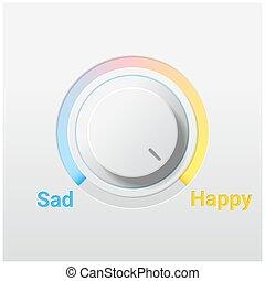 controle, botão, triste, interruptor, fundo, emocional, feliz