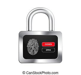 controle, buttons., realistisch, display, opening, hangslot, black , vingerafdruk, sluiting
