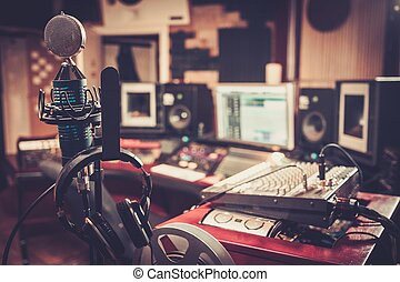 controle, close-up, boutique, gravando, desk., estúdio