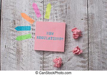 controle, conceito, texto, desk., papel, feito, algo, tabela, adesivos, topo, escrita, nota, maneira, novo negócio, governo, regras, question., regulamentos, linha, feito, palavra, madeira, planície, seta, ordem