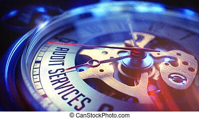 controle, diensten, -, inscriptie, op, ouderwetse , zak, clock., 3d.