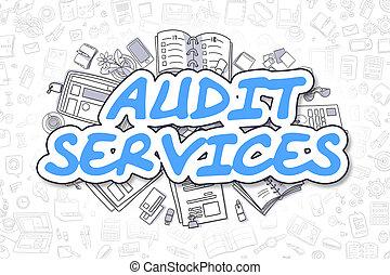 controle, diensten, -, spotprent, blauwe , inscription., zakelijk, concept.