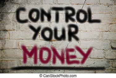 controle, dinheiro, conceito, seu