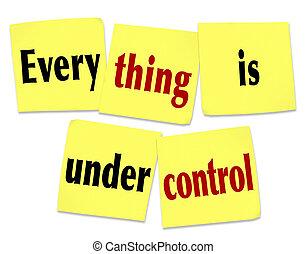 controle, dizendo, notas, pegajoso, tudo, sob, mensagem
