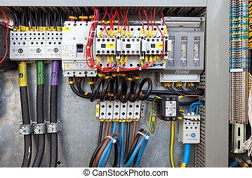controle, elétrico, painel