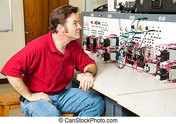 controle, elektrisch, motor, paneel