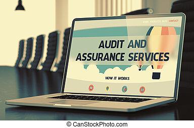 controle, en, verzekering, diensten, -, op, draagbare computer, screen., closeup., 3d.