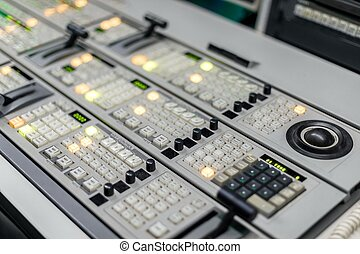 controle, foto, cima, estúdio, fim, painel