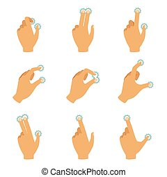 controle, gestos, diferente, tela, toque