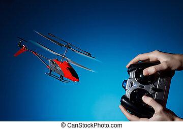 controle, helicóptero, remoto, pilotar