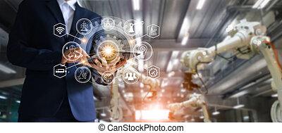 controle, industrial, sistema, braços, gerente, indústria, interface., operação, cheque, engenheiro, 4.0, tabuleta, conceito, fábrica, máquina, inteligente, câmbio, automação, fundo, usando, fabricando, dados, ícone, tecnologia, fluxo, robô, roboticts, software, soldadura