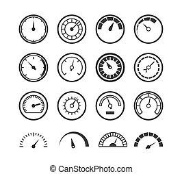 controle, industriebedrijven, tester, auto, energie, manometer, meter, tachometer, set, elektrisch, maatregel, icon., snelheidsmeter, lijn, snelheid