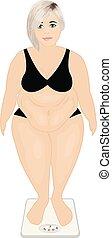 controle, machine., gewicht, concept., overgewicht, dik, meisje