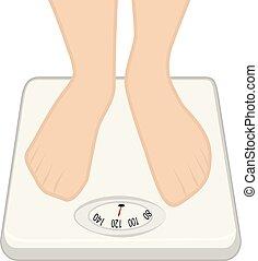 controle, machine., gewicht, concept., overgewicht, voetjes