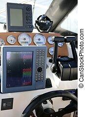 controle, macht, fishfinder, plotter, brug, radar, scheepje