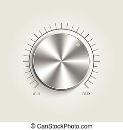 controle, metaal, volume, muziek, vector