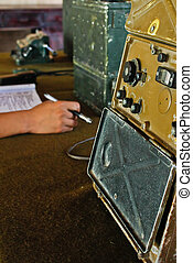 controle, militar, (2), sala, rádio