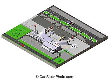 controle, passageiro, isometric, terminal, aeroporto, vetorial, tráfego, jatos, internacional, torre