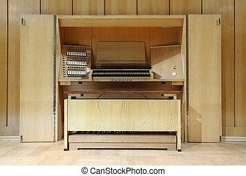 controle, pijp, sleutels, velen, detail, schakelaars, houten, organ;, massief, paneel