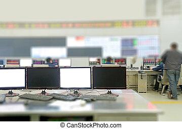 controle, planta, sala, modernos, monitores computador