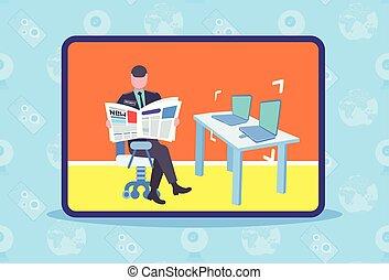 controle, plat, gevulde bloem dienst, zittende , draagbare computer, arbeider, systeem, uniform, conducteur, veiligheid, werkplaats, bureau, krant, lengte, horizontaal, lezende , technologie, veiligheid, mannelijke , man