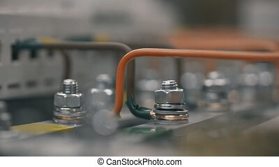 controle, pneumatisch, elektromonteur, electical, noot, plant, feeds., elektrisch, aantrekken, box., macht, inspecteren, schroevendraaier, kabinet, schakelkast, kabel, binnen, werken, installeren, aannemer, ingenieurs