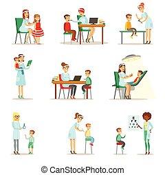 controle, pre-school, kinderen, examen, kinderarts, vrouwlijk, artsen, gezondheid, inspectie, medisch, lichamelijk