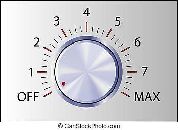controle, realistisch, knop, tekens