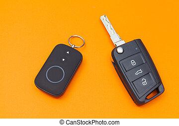 controle, remoto, aberta, car, topo, fundo, tecla, laranja, vista