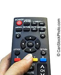 controle, remoto, mão