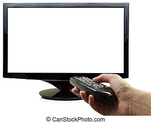 controle, remoto, tv, mão, em branco, exposição, 3d