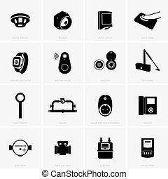 controle, segurança lar, ícones