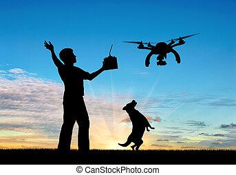 controle, silhouette, neuriën, vliegende hond, ver, man, sunset.