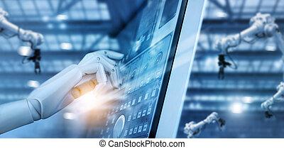controle, software., industrial, robótica, sistema, operação, cheque, fabricando, monitorando, trabalhando, fábrica, ai., digital, inteligente, machine., automação, braços, mão, painel, technology., system., robô, futurista, soldadura