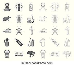 controle, teia, jogo, illustration., serviço, ícones, pessoal, símbolo, cobrança, equipamento, vetorial, peste, mono, peste, design., veneno, estoque