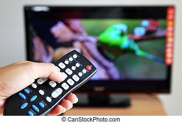 controle, televisão, direção, remoto, apontar, tv, mão