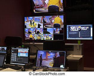 controle, televisão, equipment., botão, painel