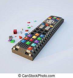 controle, tijolos, remoto, lego