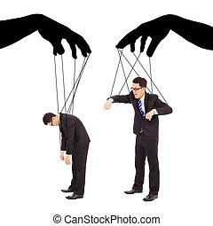 controle, twee, acties, black , handen, zakenman, schaduw