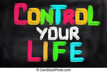 controle, vida, conceito, seu